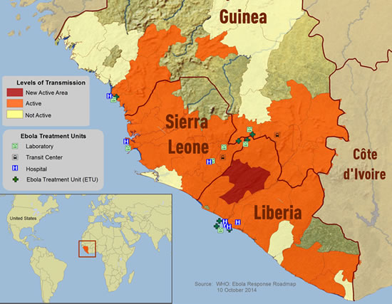 Ebola outbreak distribution in some West African countries. Photo source as above.