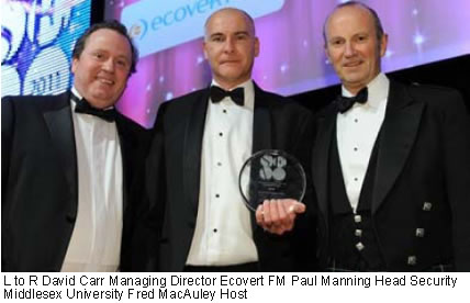 L to R David Carr Managing Director Ecovert FM Paul Manning Head Security Middlesex University Fred MacAuley Host