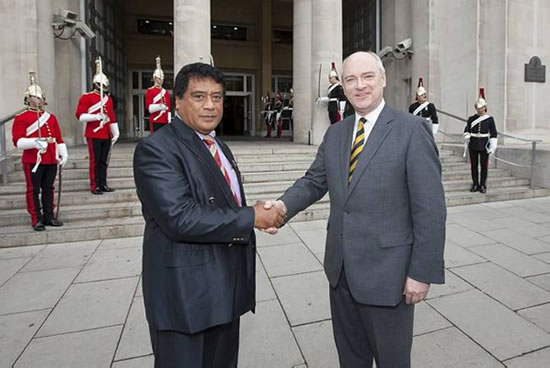 The Minister of State for the Armed Forces, Nick Harvey MP, welcomed the Tongan Prime Minister, Lord Tu'ivakano to the Ministry of Defence Photo: MoD.