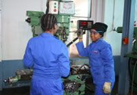Two apprentices at the Gear Ratio facility in Alrode, South Africa